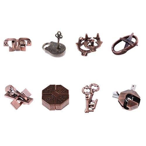 8 Stück Vintage Lock Puzzle Geduldspiele Metallpuzzle Puzzle IQ Test Zaubertrick Metall Knobel-Spaß Brainteaser