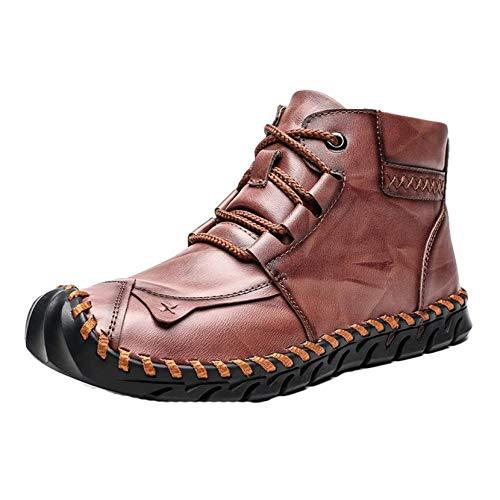 Botines para Hombre Otoño Invierno con Cordones Durable Suela Suave Zapatos de Cuero Casual Trabajo al Aire Libre Botas Cortas