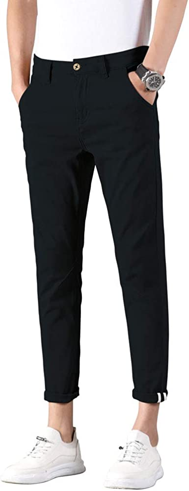 Plaid&Plain Men's Slim Fit Khaki Pants Stretch Cropped Chino Skinny Pants
