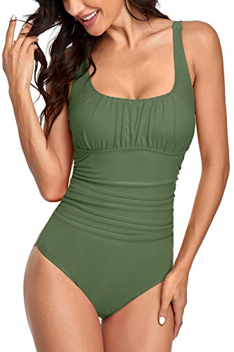 Upopby Black One Piece Swimsuit Plus Size Full Coverage Tummy Control Swimwear Ruched Padded Bathing Suits for Women Slimming Beachwear Army Green 6