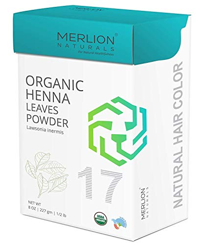Merlion Naturals Pure Henna Powder, Lawsonia Inermis, USDA NOP Certified 100% Organic, Natural Hair Color - 8 OZ (227g)