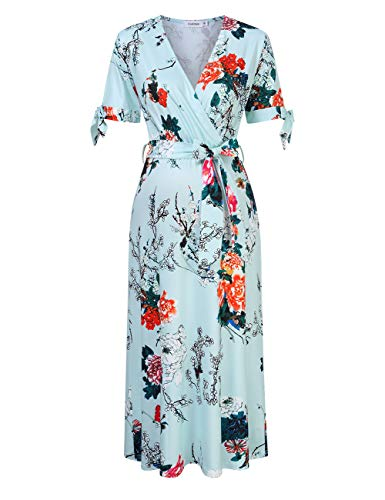 Coolmee Women's Nursing and Maternity Dress V-Neck Short Sleeve Midi Wrap Dress with Belt Mint Flower S
