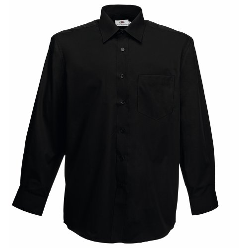 Fruit of the Loom Herren Long Sleeve Poplin Shirt Freizeithemd, Schwarz (Black), Medium