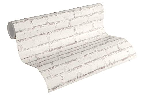 A.S. Création Vliestapete Essentials Tapete Backstein Optik 10,05 m x 0,53 m grau weiß Made in Germany 319431 31943-1