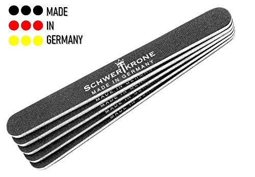 Schwertkrone Nagelfeile für Gelnägel 100/180 Profi Set Sandblattfeile Schwarz grob/fein Studiobedarf (5 Stück)