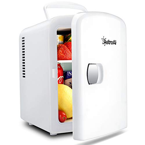 AstroAI 2 in 1 Mini Kühlschrank, 4 Liter Fridge mit Kühl- und Heizfunktion 12 Volt am Zigarettenanzünder und 230 Volt Steckdose für Autos, Büros und Schlafsäle, Weiß