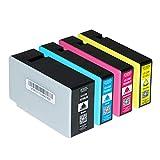 4 Tintenpatronen kompatibel für Canon Maxify MB2050 Maxify MB2350 - PGI-1500 XL BK C M Y - Schwarz 36ml, Color je 12ml