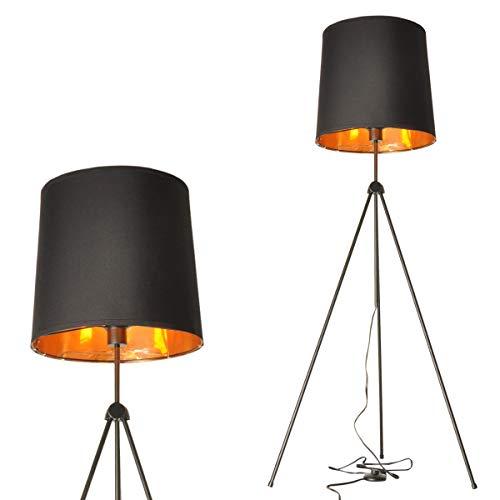 Lampara de pie Salon Negro Pantalla de Lámpara Luz de piso Dormitorio Moderna Industrial Adjustable Tripode Lamparas para Oficina Lectura-Sin Bombilla