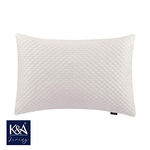 K&A Bamboo Pillow Protector, Ultra Soft Zippered Pillowcase, Hypoallergenic 350 GSM Organic Bamboo Breathable Pillow Cover - Dust Mite Protection - ECRU Colour (UK Standard 48 x 74 CM)