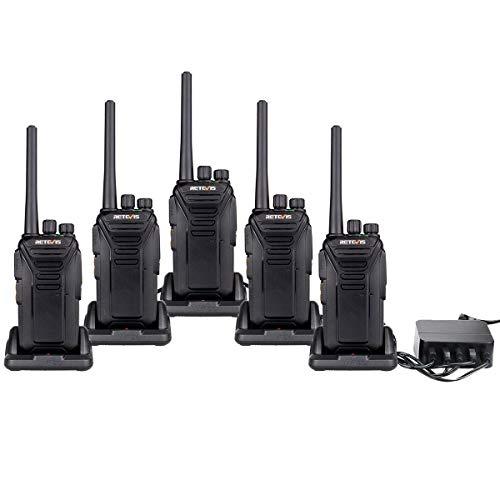 Retevis RT27 Portofoon met 5 Poorts Oplader PMR446 Vergunningsvrije Professionele Walkie Talkies 16 Kanalen CTCSS/DCS VOX Scan Monitor Noodoproep Walky-Talky met USB-laadstation (5 Stuks, Zwart)