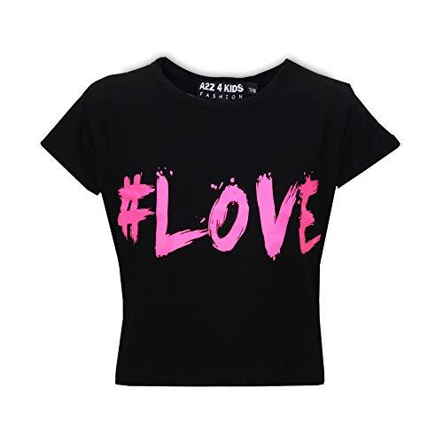 T-shirt A2Z Kids - Pour filles de 7 à 13 ans - Noir - 146 cm/152 cm(11-12 ans)