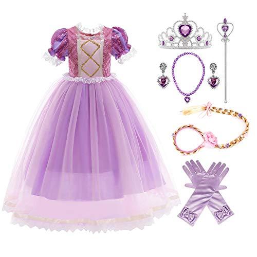 Kosplay Disfraz de Princesa Rapunzel Niña Sofía Vestido Fiesta Carnaval Cosplay Halloween Navideña Costume para Chicas 3-11 Años (Púrpura)