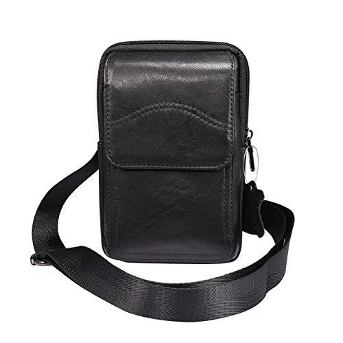 Teléfono inteligente bolsa Bolsa de cinturón de cuero genuino para iPhone 12 Pro Max Holster con clip de cinturón / bucle, para Samsung S20 Fe 5G / Nota 20 Funda ultra Crossbody Casinera Men Messenger