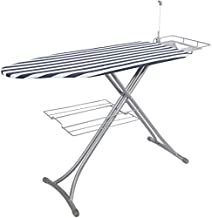 Bizroma Ironing Board Table 18 x 49 inches with Steam Rest Laundry Rack and Cord Holder with 4 Stable Legs and 7 Adjustable Heights, Extra Wide, Stripe