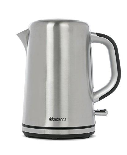 Brabantia BBEK1001 - Wasserkocher mit 1.7L - Mit Kalk Wasserfilter - Elektrischer Wasserkessel mit Automatische Abschaltung - Edelstahl - Weicher Griff