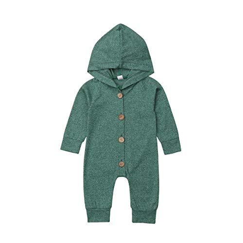 DUBASAM Newborn Baby Boy Long Sleeve Romper Jumpsuit Hooded Onesie Playsuit Solid Hoodie One Piece Bodysuit Fall Clothes (Green, 3-6 Months)