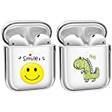 [2Pack] Crystal Clear Protective TPU Cover Compatible with Apple AirPods 1/2 Wireless Charging Case Cute [Front LED Visible] [No Dust] Shockproof Cover Case Fun Case[Shockproof] -Smile+Dragon