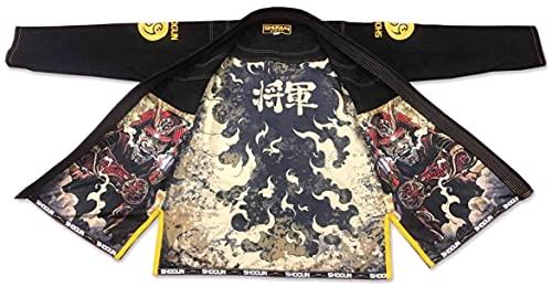 SHOGUN Fight Brazilian Jiu Jitsu Gi Samurai Premium 450g Pearl Weave Cotton BJJ, Black A2