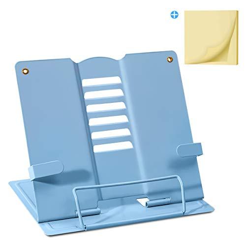 Palumma ブック スタンド 書見台 ブック スタンド 卓上 読書 スタンド 鉄製 より耐久性 広げて厚く 折畳み 肩こり解消 目の保護 ポストイット付き (ブルー)