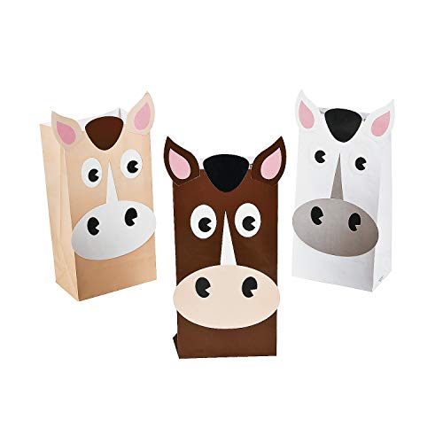Fun Express Horse Treat Favor Bags - 12 Pack - Western Cowboy, Cowgirl and Farm Party Supplies