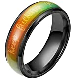 6mm Stainless Steel Color Changing Temperature Sensative Mood Indication Keep Fucking Going Inpiration Wedding Band Ring (Black, 7)
