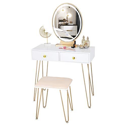 FREDEES Vanity Table Set mit 3-Farben-Dimm-Touchscreen Beleuchteter Spiegel Schminkspiegel Schminkspiegel 2 Schubladen und gepolsterter Hocker
