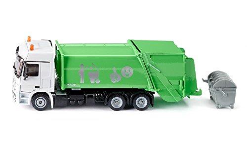 Siku 2938, Müllwagen, 1:50, Metall/Kunststoff, grün/weiß, Öffenbarer Heckbereich, Inkl. Mülltonne