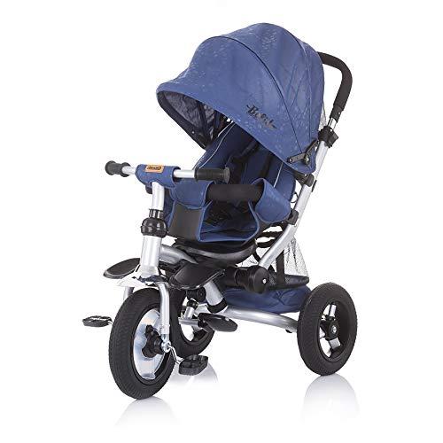 Chipolino Tricycle Dreirad Bolide Luft-Gummiräder Schiebegriff höhenverstellbar, Farbe:blau