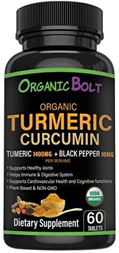 USDA Certified Organic Turmeric Curcumin with Black Pepper by OrganicBolt   1400mg Premium Joint Supplement with Healthy Inflammation Support   Gluten-Free, Non-GMO   60 Tablets, 30 Servings