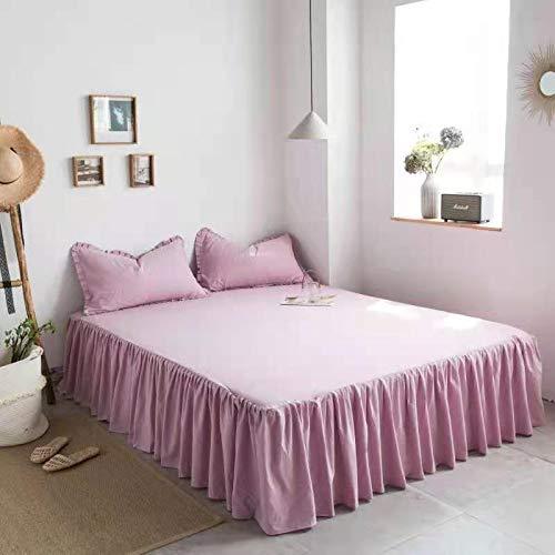 Överkastar Queen Non Slip Bed Kjol King Size Sängöverdrag Kjol 120/150 / 180x200cm Madrass Skyddskåpa Tre delar uppsättning Bomullsspets Överkast Sänglakset (Color : F, Size : 180 * 200CM)