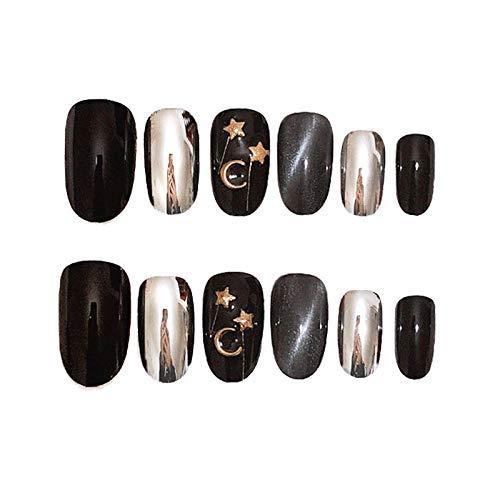CLOAAE Ins beautiful black cat eyes hit solid color moon and stars theme false nails 24pcs lovely lady full nail tips bride 3d false nails