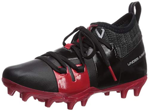 Under Armour Boy's C1N MC Jr. Football Shoe, Black (002)/Red, 1 M US Little Kid