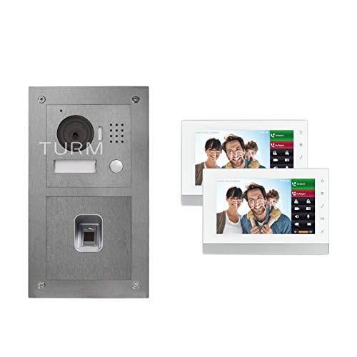 "Turm IP Netzwerk Video Türsprechanlage mit Handy App, Fingerprint Modul, 1,3 Megapixel HD Kamera, Edelstahl, 7"" Innenstation Touchscreen mit Micro SD Kartenslot bis 32GB, Ferngesteuerter Türöffner"