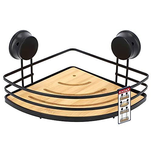 KADAX Estantería con ventosas, estantería esquinera de bambú, cesta de ducha de acero pulverizado, estantería de bambú hasta 4 kg, estantería de baño sin agujeros, estantería de pared (esquina, negro)