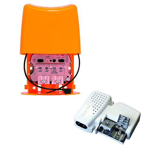 TECNOVOZ Kit Amplificador DE MASTIL 30DB + Fuente DE ALIMENTACION LTE 5G...