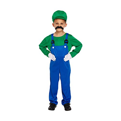 Kinder Kostüm Grün Super Handwerker Luigi - S (EU 104-116)