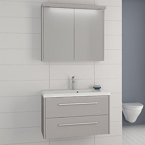 Dansani GmbH Exkl. Badezimmer Set weiß Spiegelschrank Waschplatz Badmöbel Gäste WC Waschtisch