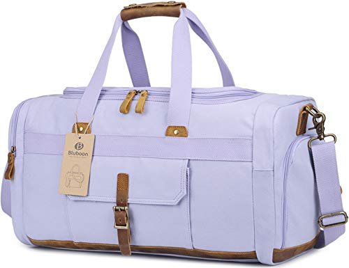 BLUBOON Weekender Overnight Duffel Bag with Shoes Compartment for Women Men Canvas Weekend Travel Tote Carry On Bag (Purple)