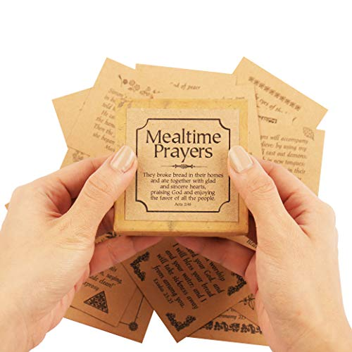 Navy Peony's Our Daily Bread Prayer Notes - 47 Scripture Cards, Small Promise Box | Meal Time Bible Verses for the Religious Christian Household