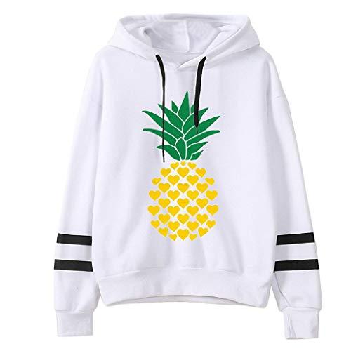 FOTBIMK Sweat Ado Fille Blanc À Manches Longues Sweatshirt Femme Imprimé Ananas Pull À Capuche Hoodies Pas Cher Automne Et Hiver Blanc XL