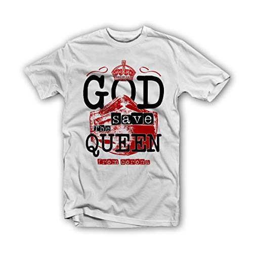 GTL Design God Save The Queen from Corona T-Shirt bianco S