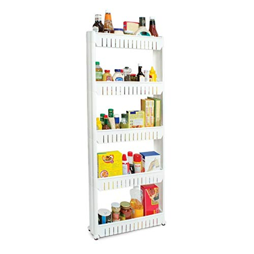 Slim Slide-Out 5-Tier Storage Tower - Ideal in Your Kitchen, Bath and Laundry Rooms!