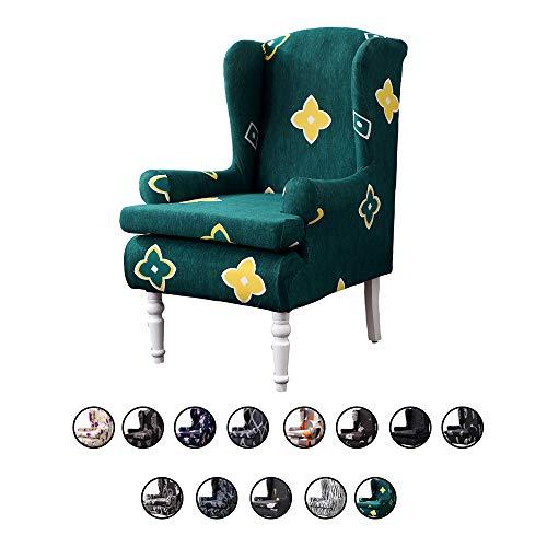 ChicSoleil Ohrensessel Überwürfe mit modern Muster Sesselbezug Sessel-Überwürfe Bezug Sesselhusse Elastisch Stretch Husse für Ohrensessel