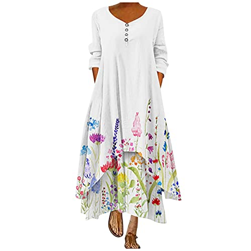 AMhomely Women Dresses Sale,Fashion Ladies Floral Print Loose Long Sleeve O-Neck Casual Maxi Dress UK Size Party Elgant Dresses Clearance Work Dress Office Dressing