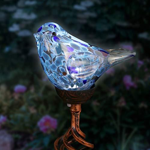 Exhart Solar Teal Hand-Blown Glass Bird...