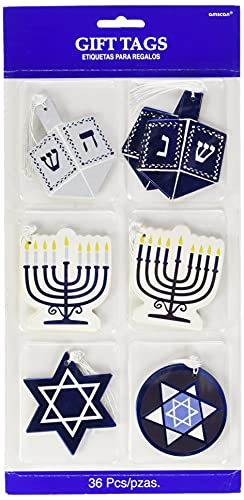 Hanukkah Party Assorted Design Tape On Gift Tags - 36 Pcs.