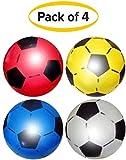 SourceDIY Ballon de Football en Plastique PVC Souple et léger adapté aux Jeux de Plein air en intérieur Plage, Parc, Maison, Anniversaire, école et fêtes Couleurs Assorties (Paquet de 4)