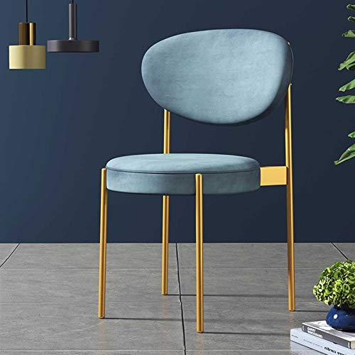 GZLL Sillas de Comedor, sillones, sillas de Acento, con Patas de Silla de Metal, velvtos Suaves, Vintage (Color : Azul)