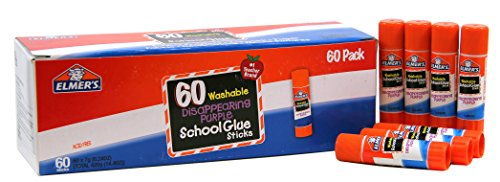 Elmer's Disappearing Purple School Glue Sticks, Washable, 0.24 Ounce Glue Sticks for Kids | School Supplies | Scrapbooking Supplies | Vision Board Supplies, 60 Count
