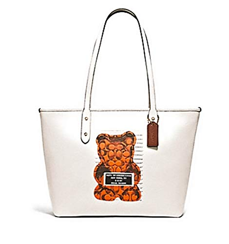 COACH Gummy Bear Leather Animation City Zip Tote Chalk/Multi One Size